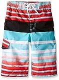 Kanu Surf Big Boys Reflection Stripe Swim Trunks Aqua 10/12
