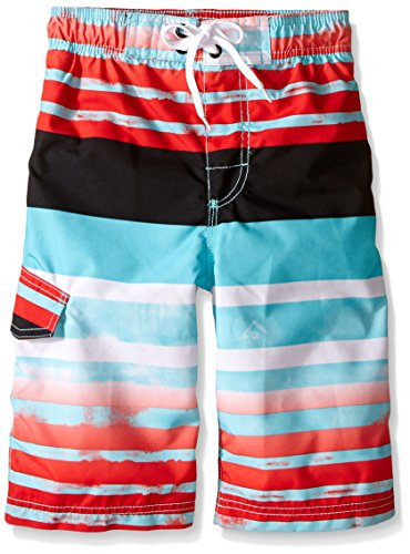 Kanu Surf Big Boys' Reflection Stripe Swim Trunk, Aqua, Medium (10/12) (Suits Swimwear Boys Bathing)