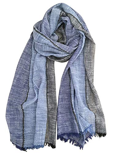GERINLY Color Block Summer Scarf for Men Long Neck Wraps Shawl Urbanstyle Scarf Gift for Men (Navy Blue Black)
