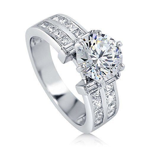 - BERRICLE Rhodium Plated Sterling Silver Round Cubic Zirconia CZ Solitaire Engagement Ring 3.4 CTW Size 5