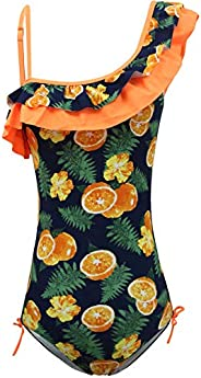 KALAWALK Girls Lemon Double Ruffle One Shoulder Adjustable Swimwear (5y-16y)