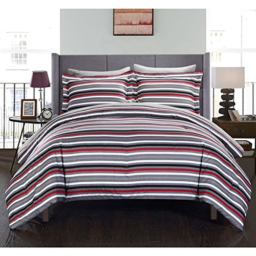 7 Piece Black Red White Stripes Comforter King Set Gray, Horizontal Sports Colors Deep Red Grey Rugby Striped Bedding Nautical Themed Design Modern Team Colorful Boys Dorm College, Microfiber