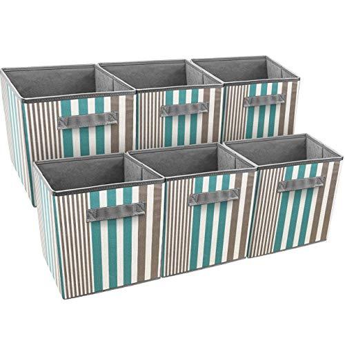 Diamondgift Storage Cube Basket Foldable Bin Stripe Vertical Line Pattern (6 Pack, Aqua)