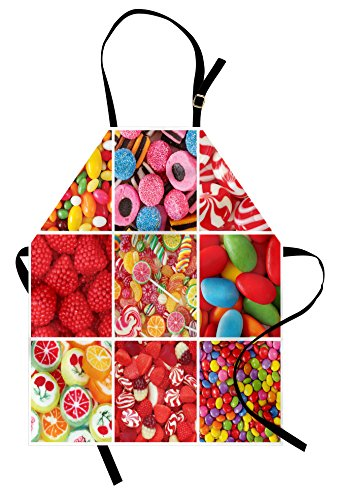 Lunarable Colorful Apron, Collage of Photos with Different S