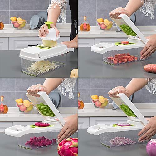 MZY LLC Multifunctional Onion Chopper Slicer Dicer Potato Cutter Chopper Veggie Cutter Vegetable Spiralizer Vegetable Slicer, White