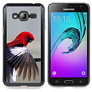 Eason Shop / Premium SLIM PC / Aliminium Casa Carcasa Funda Case Bandera Cover - Pluma Gris Pastel Pájaro tropical - For Samsung Galaxy J3 GSM-J300