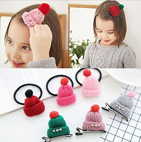 Fashion Hairpin Accessories Women Girls Knitted Hair Clip Hat Shaped Christmas