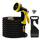 Garden Hose Expandable 50ft Water Hose with Solid Brass Connector & 3-layer Latex Inner Tube | 10-Pattern Hose Nozzles, 3 Rubber Washer (Black) MODAR