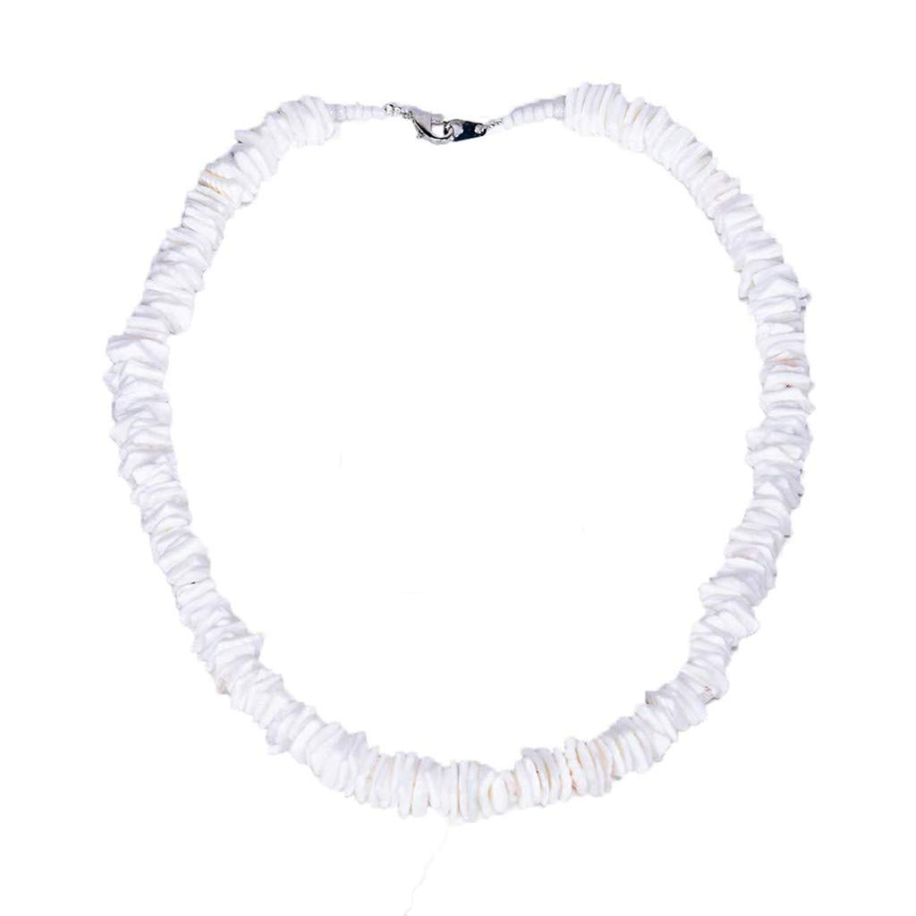 FunDiscount Shop White Conch Clam Chips Shell Necklace Handmade Seashell Choker Necklace Beach Collar Necklace Hawaiian Puka Shells Necklace for Women Mens Boys Girls 16//40cm