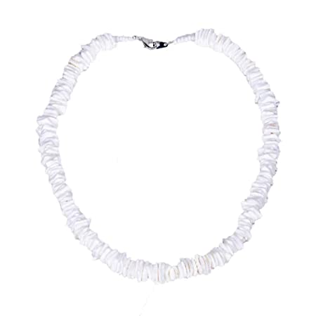 Women White Round Conch Clam Chips puka Shell Necklace Collar Choker with Extended Chain for Girls Men/'s Women Boys Native Rose Hawaiian Beach Ajustable Necklace