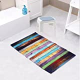 : Fashion Dream Flannel Bath rug Non Slip Floor Mat Colored Kitchen Carpet Soft Absorbent Bathroom Foam Rug Seriation Wood Grain(Wide 20 Inch x Length 31 Inch)