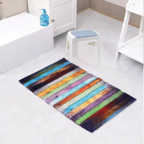 Fashion Dream Flannel Bath rug Non - Slip Floor Mat Colored Kitchen Carpet Soft Absorbent Bathroog Rug Seriation Wood Grain(Wide 20 Inch x Length 31 Inch)