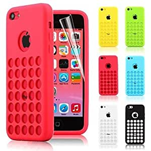 Dots Hole TPU Soft Case for iPhone 5C (Assorted Colors) , Yellow