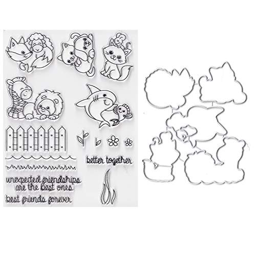Bundle-2 Items-(1) Ea Clear Cling Stamp & Die Cut Set for Scrapbooking Card Making - Best Friends Forever - Shark - Deer - Sheep - Fox - Dog - Cat - Mouse - Animals Dies Stamp Stencil
