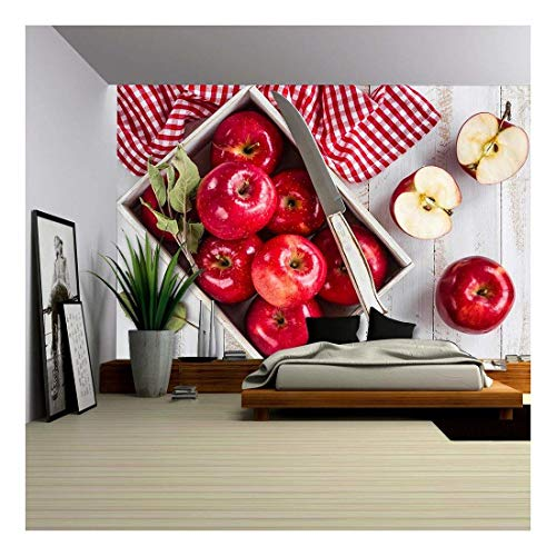 wall26 - Red Apples on White Wooden Table Top View - Removable Wall Mural | Self-Adhesive Large Wallpaper - 66x96 ()