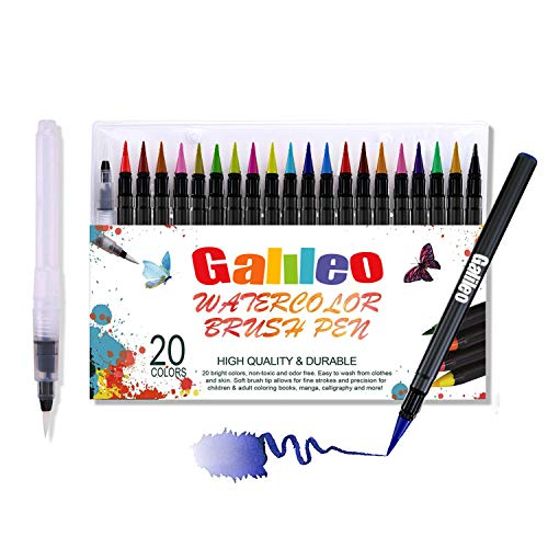 Watercolor Brush Pens Set - Pack of 20 Water-Based Coloring Markers for Kids and Adult with Real Flexible Brush Tips for Drawing, Painting, Manga, Calligraphy -Nontoxic, Washable & Odorless by Galileo