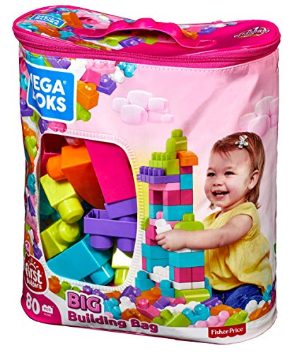 Mega Bloks Big Building Bag, Pink, 80 Piece ()