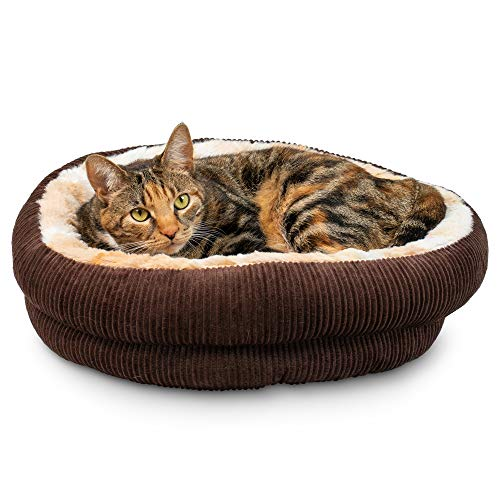 Pet Craft Supply Round Cat Bed – Cute and Comfortable Self Warming Plush Calming Cat Bed for Indoor Cats