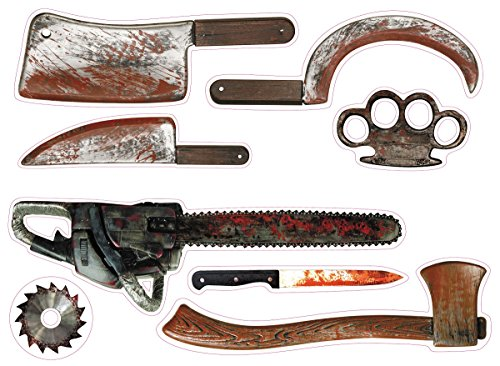 Sunstar Industries Halloween Cutouts Wall Art Bloody Weapons Tools Window Wall Clings -