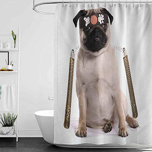 StarsART Shower Curtains for Bathroom with Cats Pug,Ninja Puppy with Nunchuk Karate Dog Eastern Warrior Inspired Costume Pug Image,Cream Black Gold,W48 x L72,Shower Curtain for Girls -