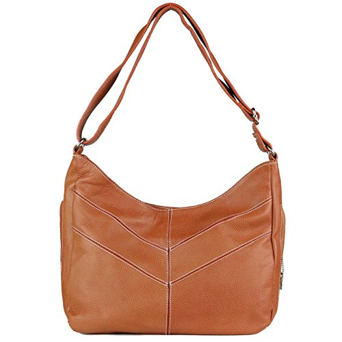 Concealed Carry Purse - The Jaden Stitched Hobo by Miss Conceal - Geniune Leather (Mahogany) by Miss Conceal