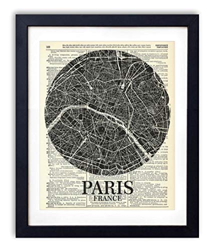 Paris France Streets Map Illustration, Upcycled Vintage Dictionary Art Print, Black and White Farmhouse Boho Style Art Print for Bedroom, Living Room and Bathroom Decor 8x10 Inches, Unframed