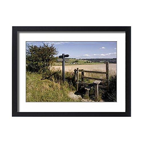 Framed 24x18 Print of Stile on the Ridgeway Path, Pitstone Hill, Chilterns, Buckinghamshire (1145488) ()