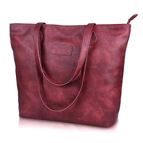 Tote Handbags,PU Leather Tote Bags Large Shoulder Bag for Women Sunny Snowy(8014-winered)