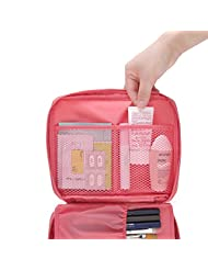 Happy Hours - Portable Foldable Toiletry Bag Cosmetic Organizer Storage / Waterproof Nylon Makeup Case Wash Pouch with Handle and Double Zippers for Travel, Household and Camping(Pink)