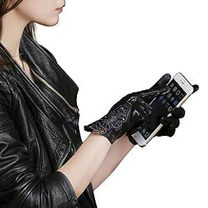 Fioretto Women Sexy Driving Leather Gloves Winter Touchscreen Black Lace Embroidery Italian Nappa