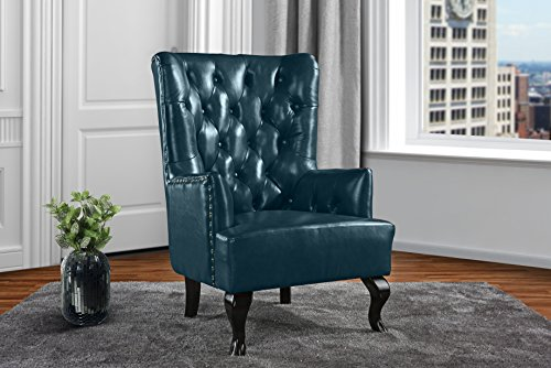 Upholstered Living Room Tufted Leather Armchair, Accent Chair with Nailheads (Blue) Velvet Fabric Upholstered Swivel Chair
