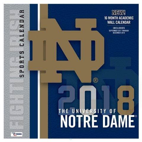 Notre Dame Fighting irish 2018 Wall Calendar Notre Dame Wall Hanging