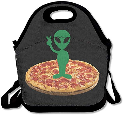 Funny Green Alien Pizza Lunch Bags Lunch Tote Lunch Box Handbag For Kids And Adults