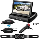 Wireless Backup Camera Kit,4.3 Color HD LCD Foldable Rear View Monitor for Car/SUV/MPV/Van IP68 Waterproof Night Vision License Plate Reverse RearView Camera
