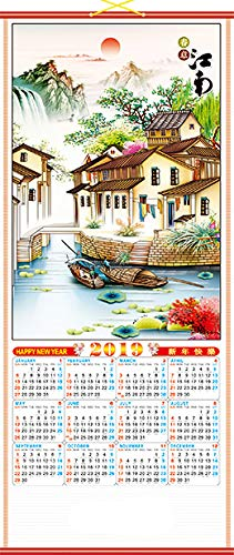 Feng Shui Import 2019 Chinese New Year Wall Scroll Calendar w/Picture of Village for Lunar Year of Pig