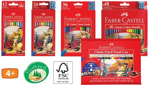 Faber-Castell Classic Pencils Variation Set of 12 to 48 Colour (12 ...