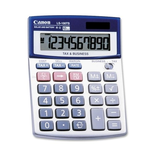 Wholesale CASE of 20 - Canon 10-Digit Dual Power Desktop Calculator-10-Digit Calculator, Dual Power,4''x5-1/3''x1-1/5'', Blue by CNM