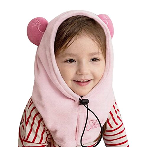 HZTG Baby Girls Boys Winter Warm Cartoon Cap Face Cove Hat Balaclava Windproof Skiing Cycling Mask (Sheep-Light Pink)
