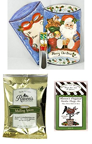 Gourmet Christmas Gift Pack - Mulling Spice, Garden Party Mix, and Novelty Spreader in Printed Gift Box (Santa)