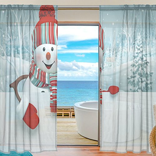 2-Piece JSTEL 3D Cartoon Snowman Christmas Pattern Print Tulle Polyester Door Voile Window Curtain Sheer Curtain Panels For Bedroom Decor Living Room Drape Two Panels Set 55×78 inch