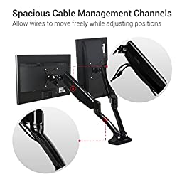 Loctek Height Adjustable Articulating Dual Arm Desk Monitor Mount Spring Gas LCD Arm for 10-27 Inch Monitor Samsung/dell/asus/acer/hp/aoc Led (Heavy Duty Dual Arm with USB Ports)