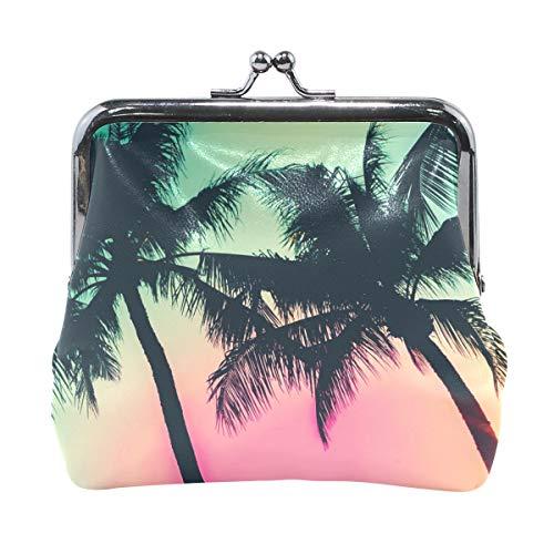 (DERLONKAJE Coin Purse Palm Trees Womens Wallet Clutch Bag Girls Small Purse)