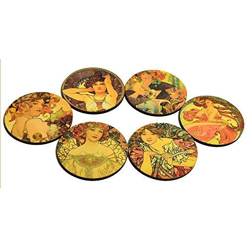 Caja con 6 portavasos de madera hecha a mano, homenaje a Alfons Mucha, Las cuatro estaciones: Amazon.es: Hogar
