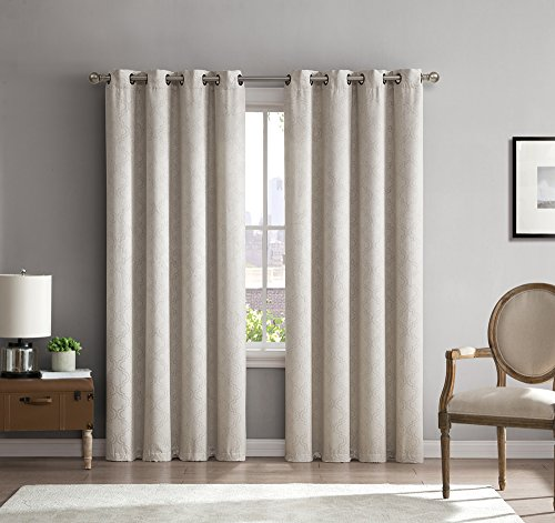 HLC.ME Redmont Lattice Thermal Insulated Energy Efficient Room Darkening Privacy Blackout Grommet Curtain Panels for Living Room - Light Blocking - Set of 2-54