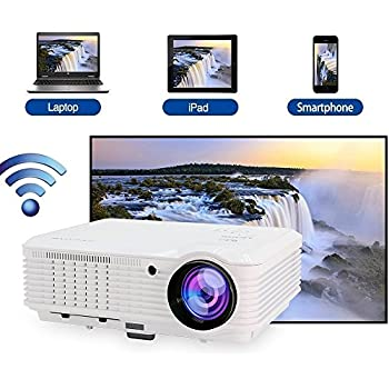 WiFi Projector Wireless, 3600 Lumen 1080p Full HD Support, LCD LED Home Theater Projector Android for TV phone iPhone Laptop Blu-ray DVD Player PS3 PS4 XBox TV Box with HDMI USB VGA AV Speaker Remote
