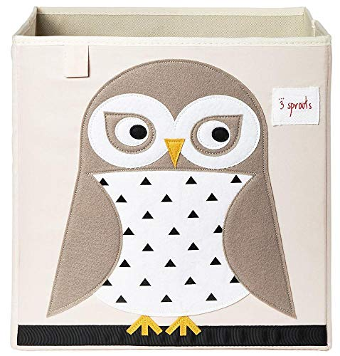 3 Sprouts Organizer Container Cube Storage Box for Kids & Toddlers, White Owl ()