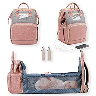 Baby Bag Diaper Backpack 3 in 1 Large Back Pack, Foldable, Waterproof, USB Charging Port, Baby Bed