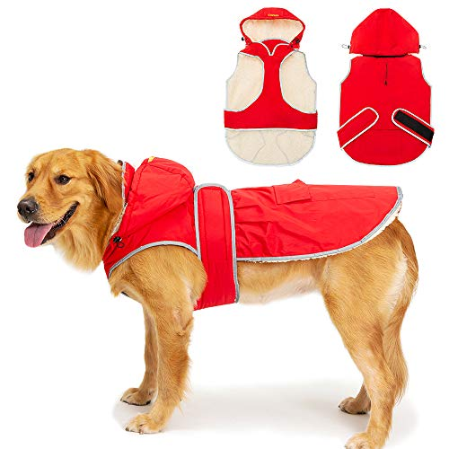 SCIROKKO Dog Winter Coat with Removable Hat - Waterproof and Reflective Cold Weather Jacket Hoodie for Large Dog - Red Extra Large