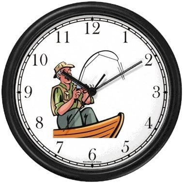 WatchBuddy Old Fisherman or Man in Boat Fishing Wall Clock Timepieces Black Frame