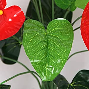 18 Heads Wedding Furniture Decor Artificial Anthurium Flower Plant Tree Foliage 4